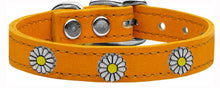 Load image into Gallery viewer, White Daisy Widget Genuine Leather Dog Collar