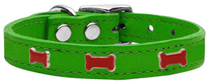 Red Bone Widget Genuine Leather Dog Collar