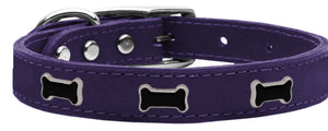 Black Bone Widget Genuine Leather Dog Collar