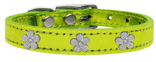 Load image into Gallery viewer, Silver Flower Widget Genuine Metallic Leather Dog Collar