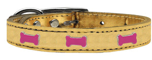 Pink Bone Widget Genuine Metallic Leather Dog Collar