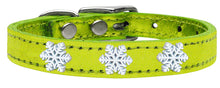 Load image into Gallery viewer, Snowflake Widget Genuine Metallic Leather Dog Collar