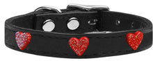 Load image into Gallery viewer, Red Glitter Heart Widget Genuine Leather Dog Collar Red