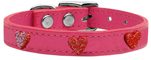 Red Glitter Heart Widget Genuine Leather Dog Collar Red