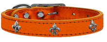 Load image into Gallery viewer, Silver Fleur De Lis Widget Genuine Metallic Leather Dog Collar