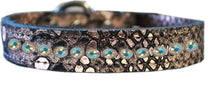 Load image into Gallery viewer, One Row Ab Crystal Jeweled Dragon Skin Genuine Leather Dog Collar Size