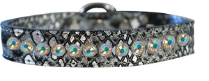 One Row Ab Crystal Jeweled Dragon Skin Genuine Leather Dog Collar Size