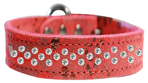 Sprinkle Clear Crystal Jeweled Dragon Skin Genuine Leather Dog Collar Size