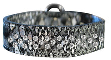 Load image into Gallery viewer, Sprinkle Clear Crystal Jeweled Dragon Skin Genuine Leather Dog Collar Size