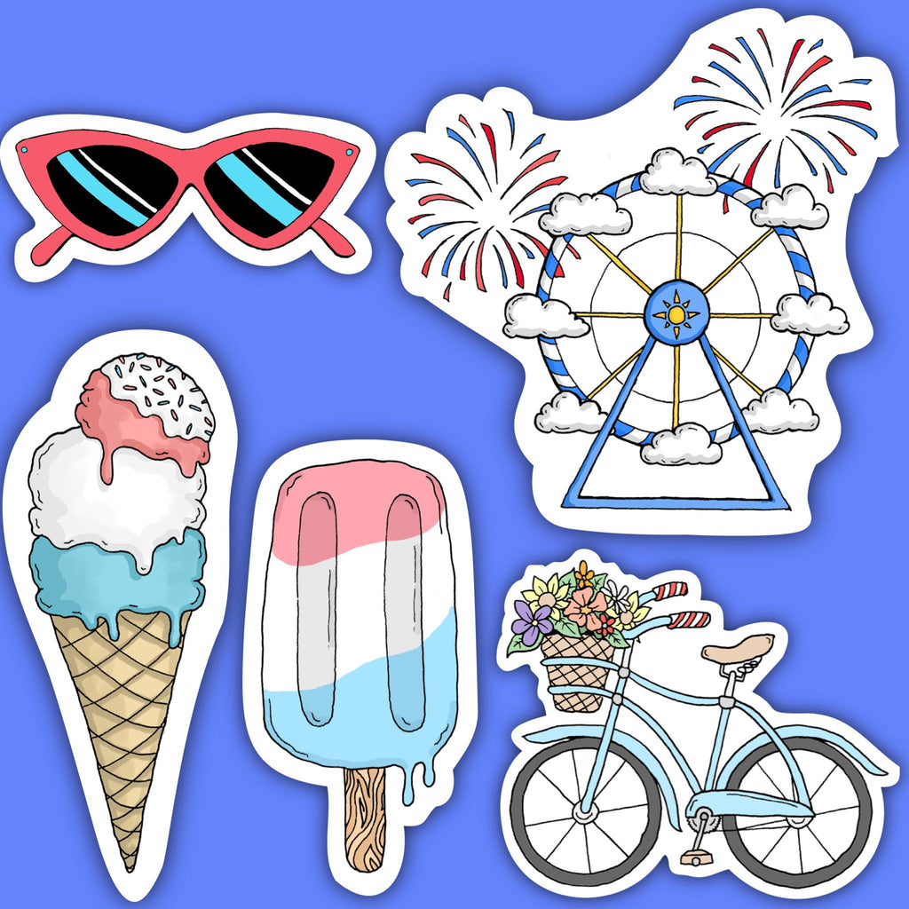 Red, White and Blue Summer Vibes Sticker 5 Pack