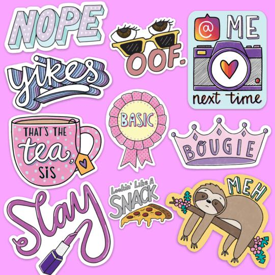 Mood Sticker 10 Pack - Pink