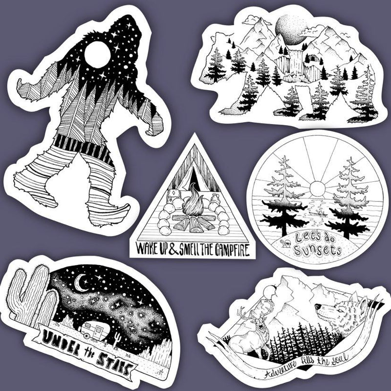 Outdoor Nature Sticker 6 Pack Black & White