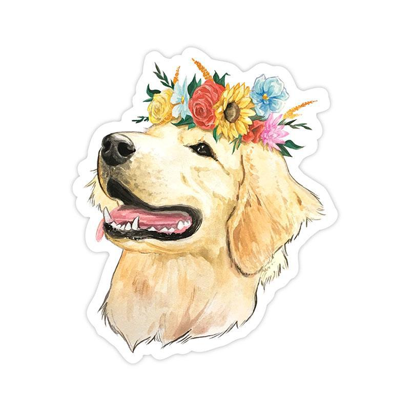 Flower crown golden retriever sticker