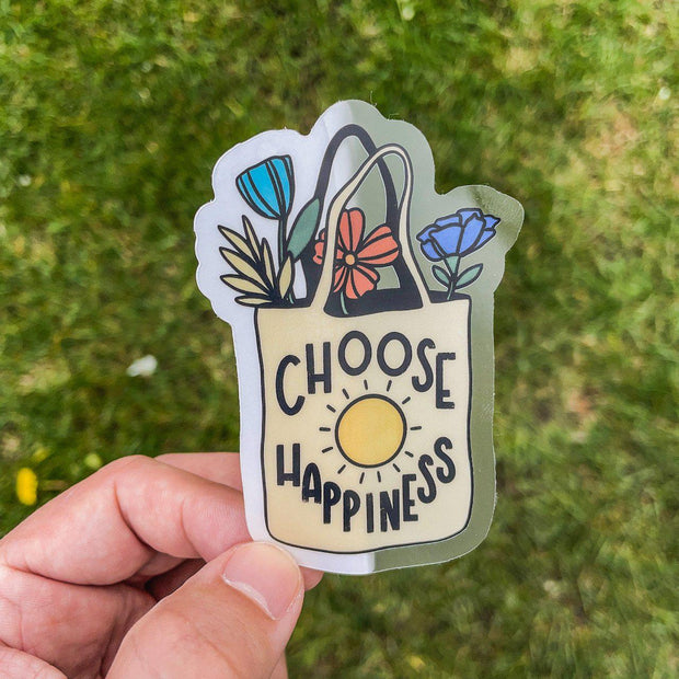 Choose Happiness Bag - Clear Sticker 1
