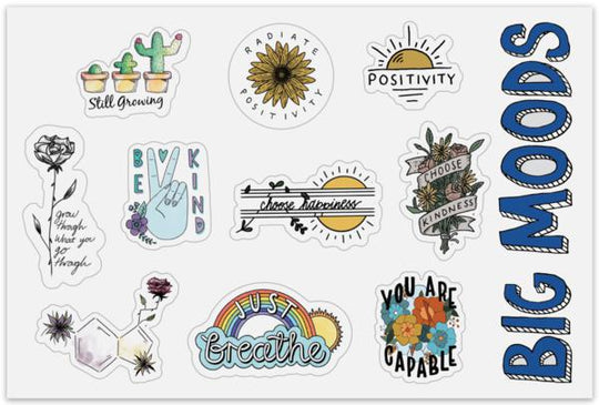 Sheet of Mini Stickers - Mental Health Stickers - 10 Designs