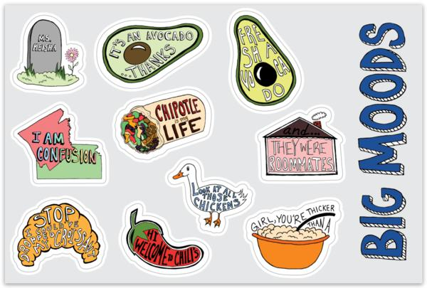 Sheet of Mini Stickers - Vine Stickers - 10 Designs