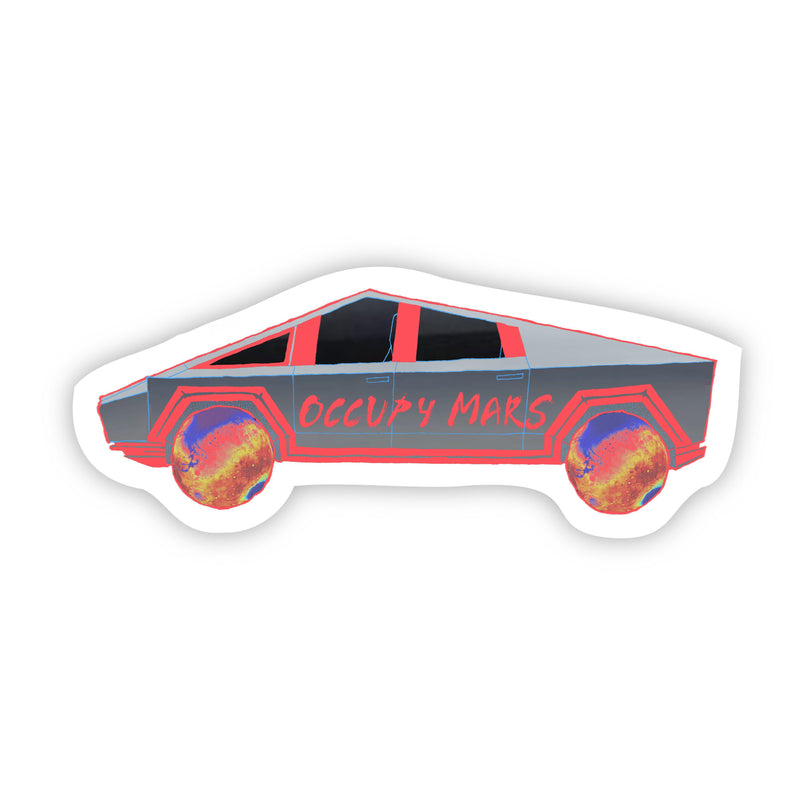 Occupy Mars Cybertruck Neon Red Sticker