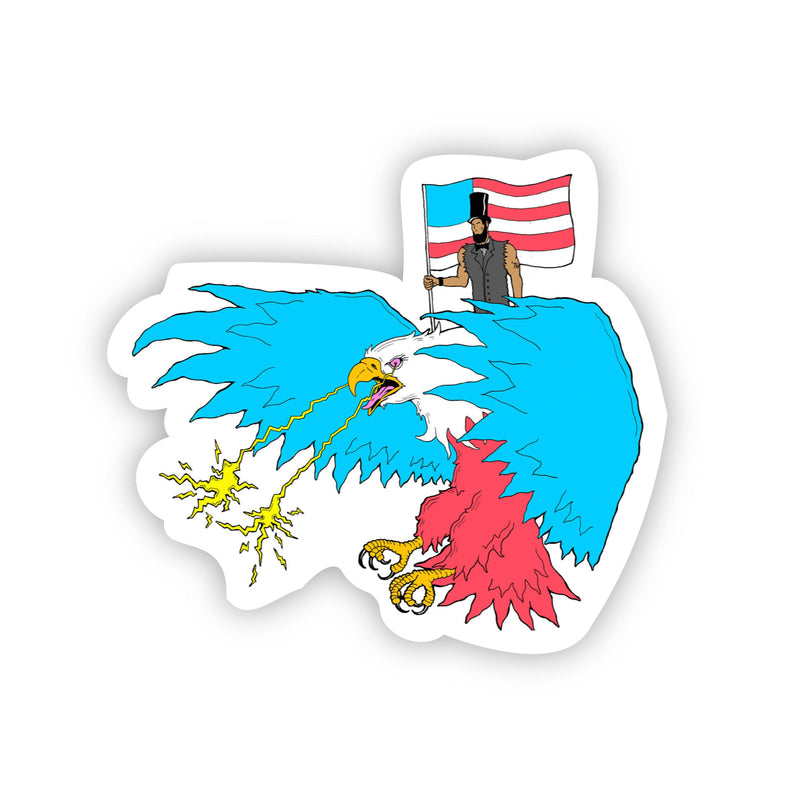 Abraham Lincoln Riding Eagle with Lasers Sticker (Neon)