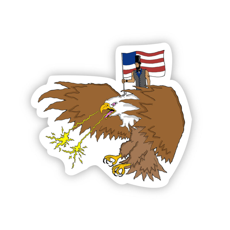 Abraham Lincoln Riding Eagle with Laser Beam Eyes Sticker