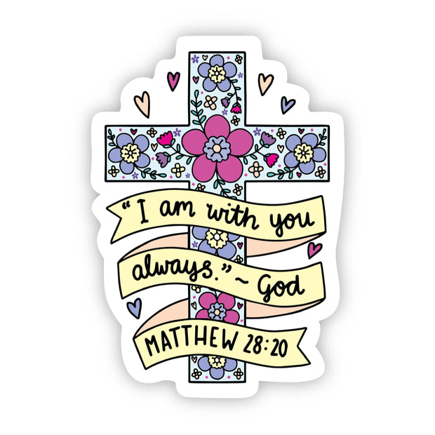 I am with you always floral cross sticker 1