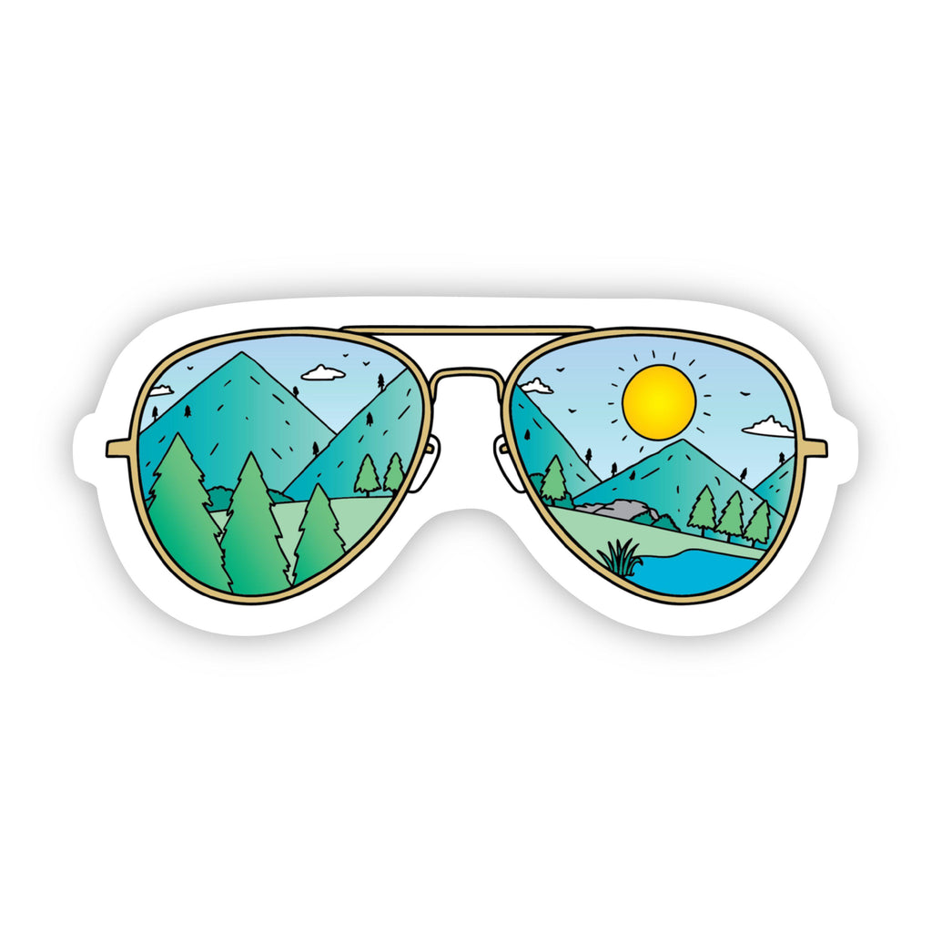Mountains with Sunglasses Hiking & Camping  Sticker