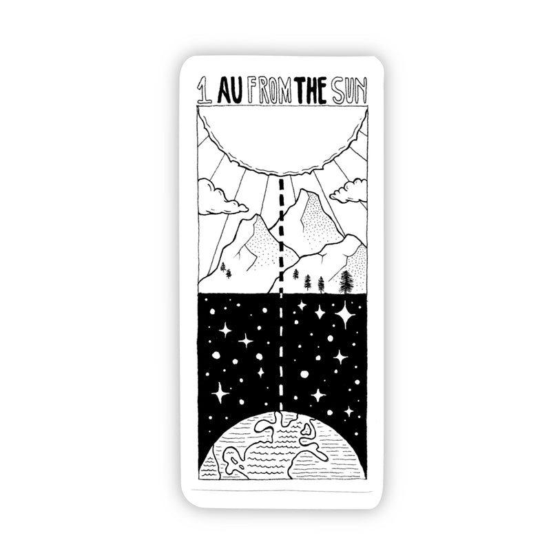 1 AU From the Sun Space Sticker Black & White
