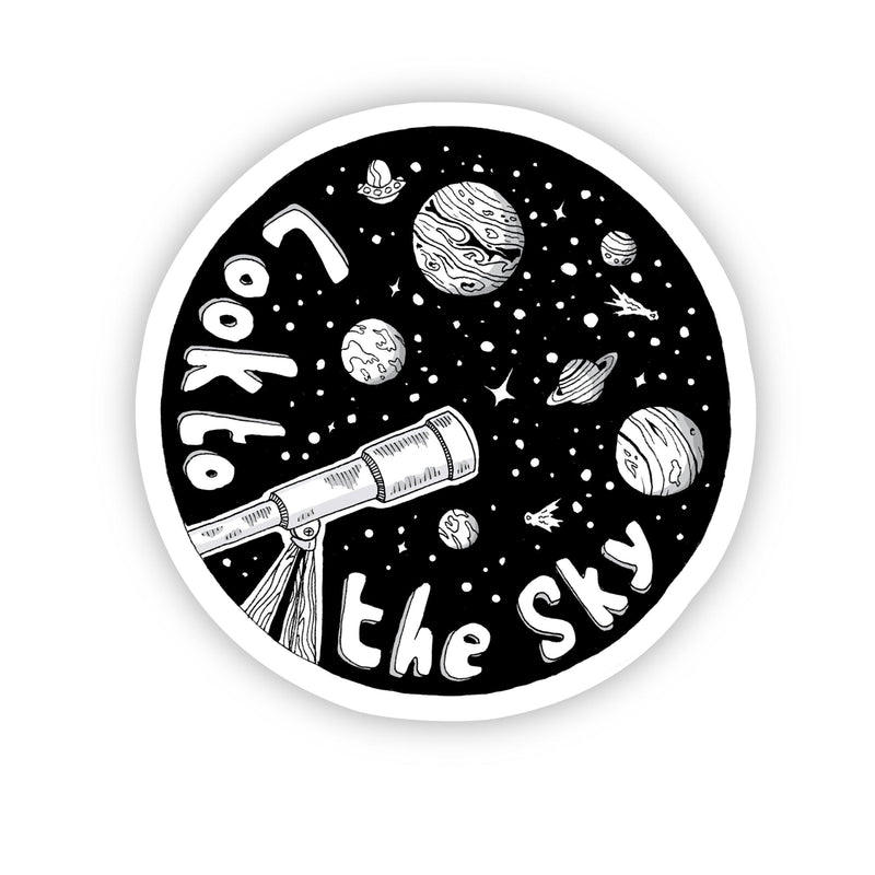 Look to the Sky Space Sticker Black & White