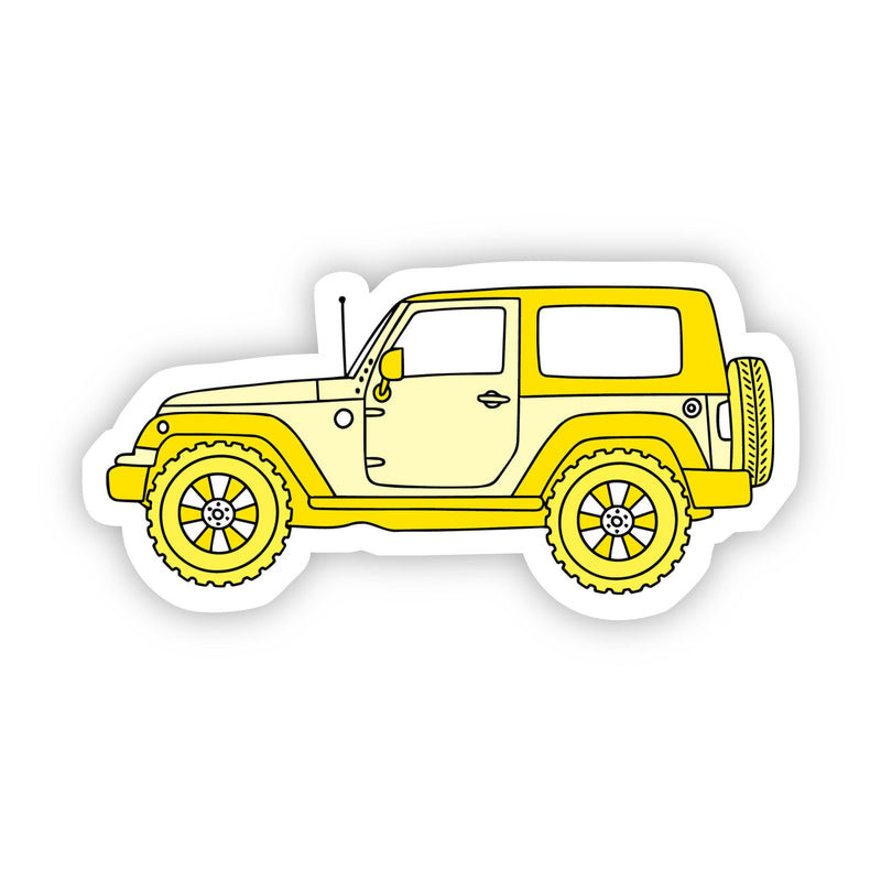 Yellow Jeep Aesthetic Sticker
