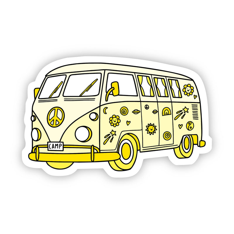 Yellow Hippie Van Aesthetic Sticker