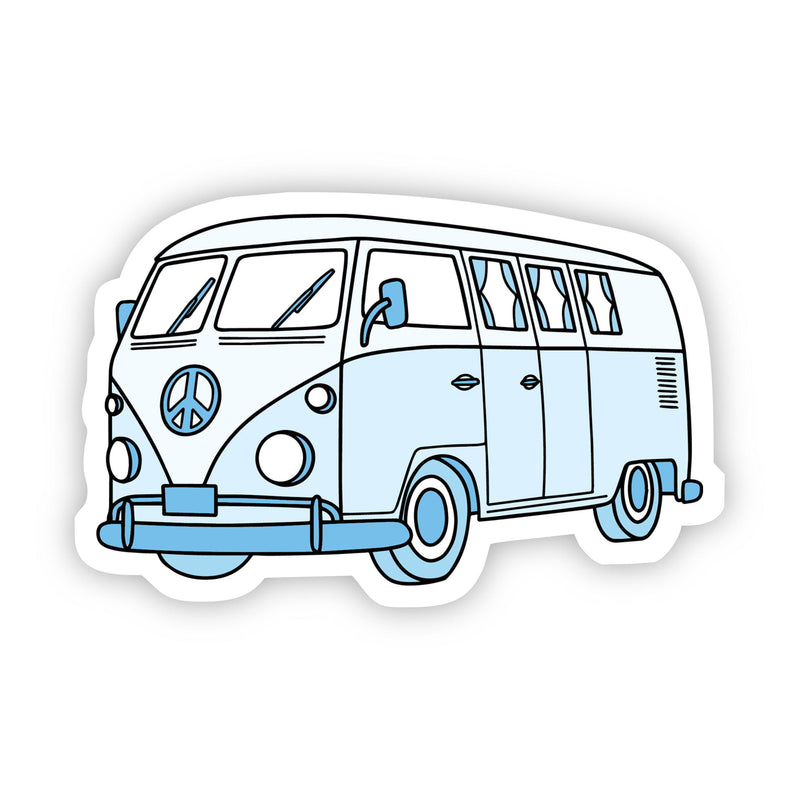 Light Blue Hippie Van Aesthetic Sticker
