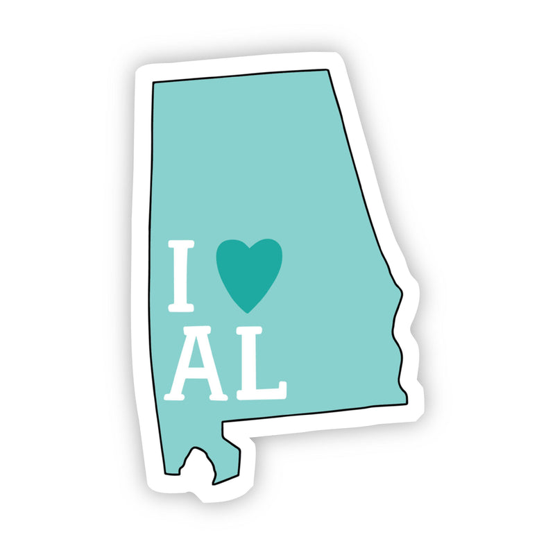 I Love Alabama Teal Sticker