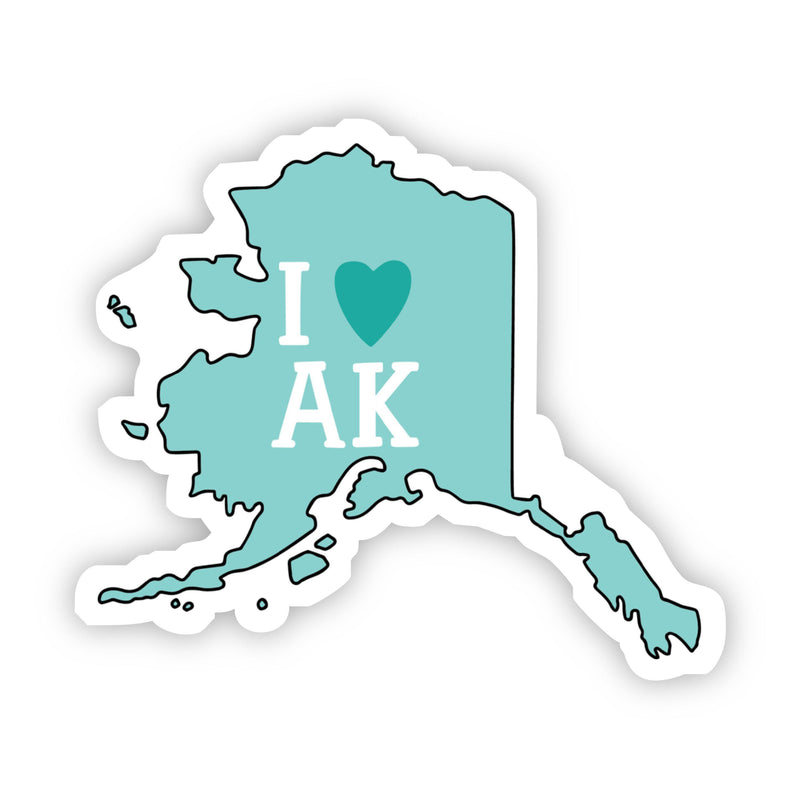 I Love Alaska Teal Sticker