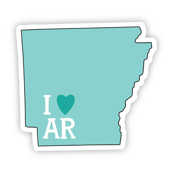 I Love Arkansas Teal Sticker