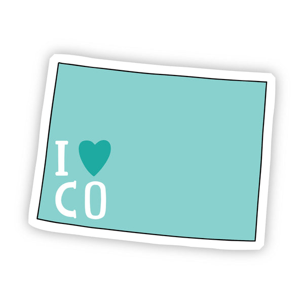 I Love Colorado Teal Sticker