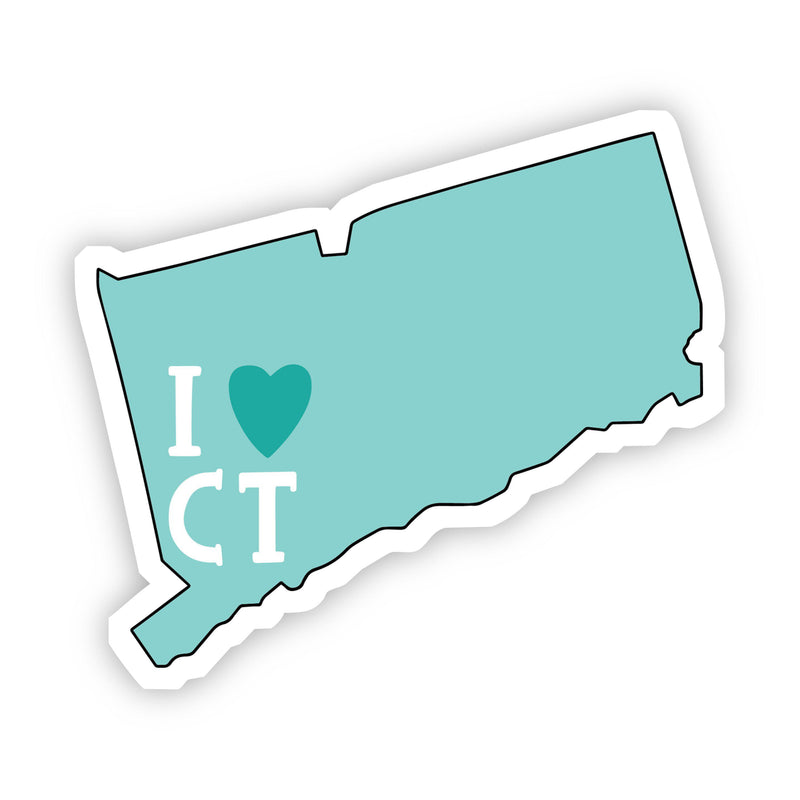 I Love Connecticut Teal Sticker