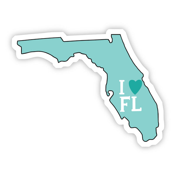 I Love Florida Teal Sticker