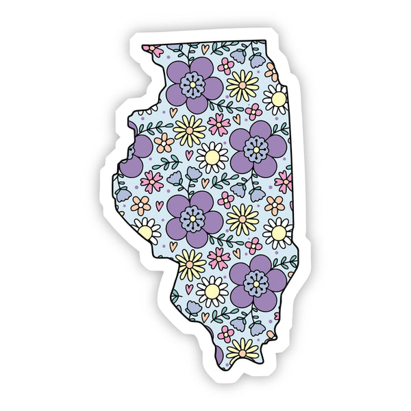 Illinois Floral Sticker