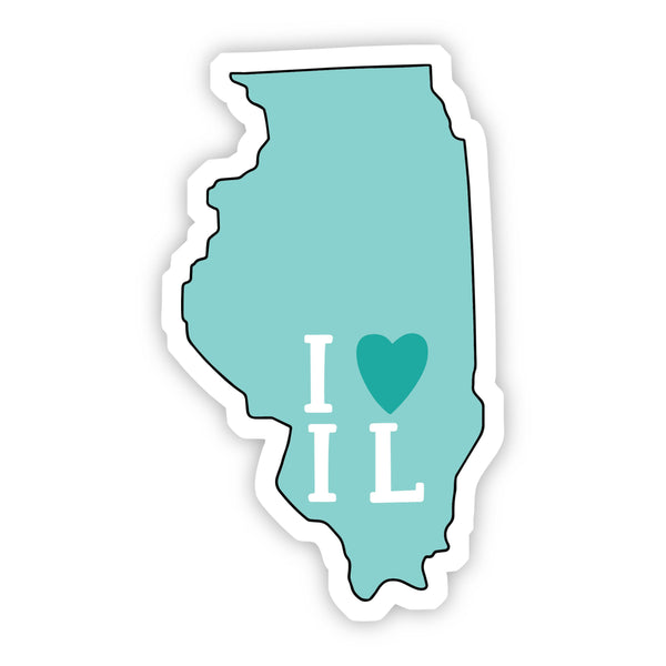 I Love Illinois Teal Sticker