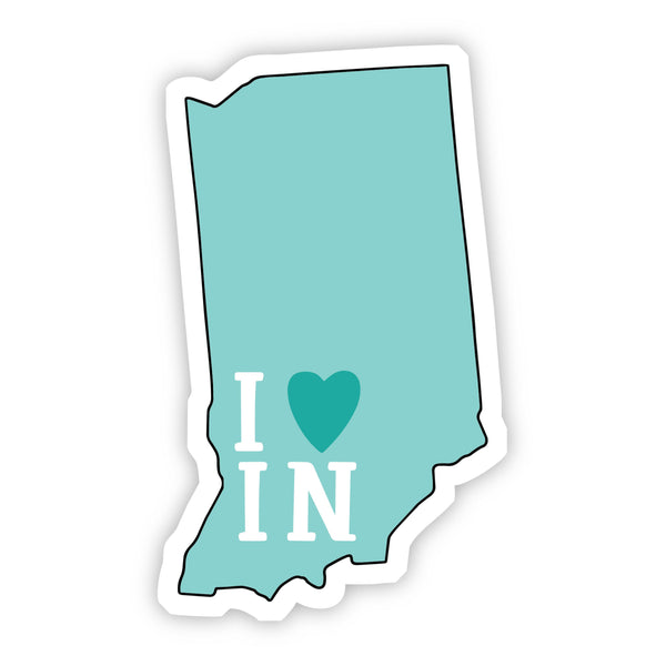 I Love Indiana Teal Sticker