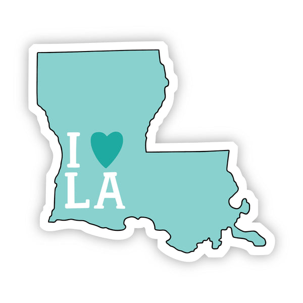 I Love Louisiana Teal Sticker