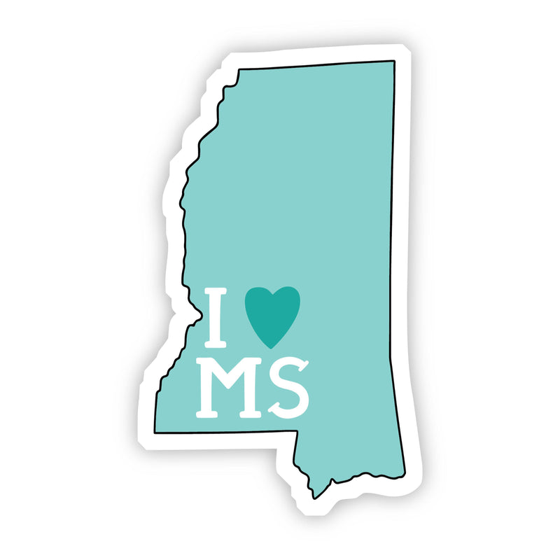 I Love Mississippi Teal Sticker