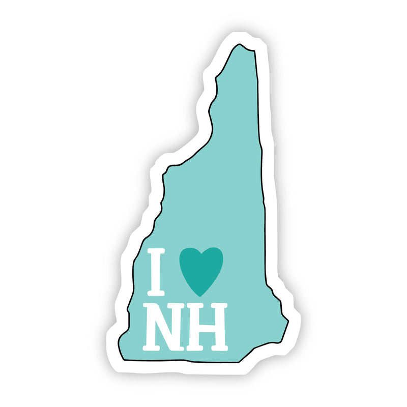 I Love New Hampshire Teal Sticker