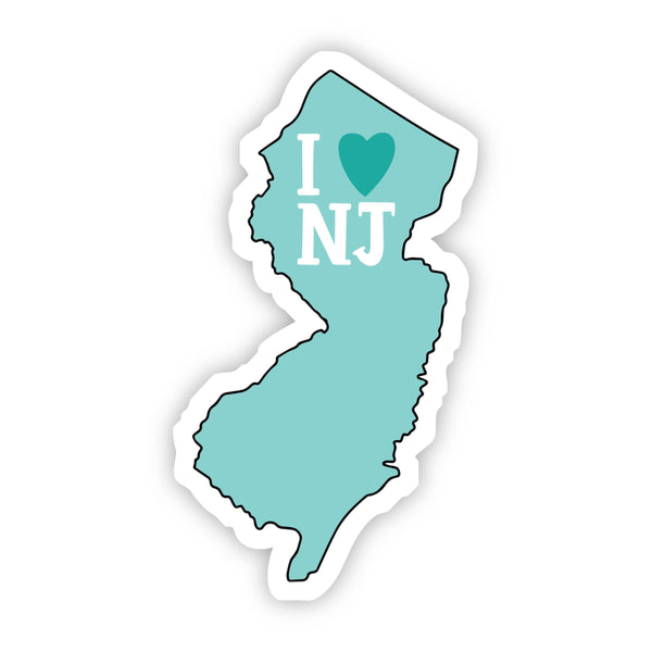 I Love New Jersey Teal Sticker