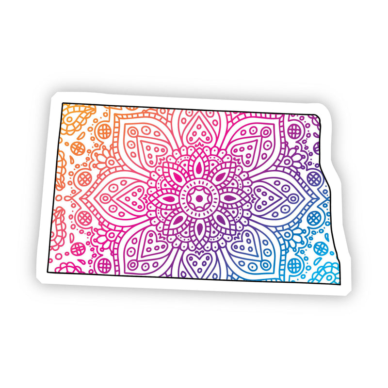 North Dakota Mandala Pattern Sticker
