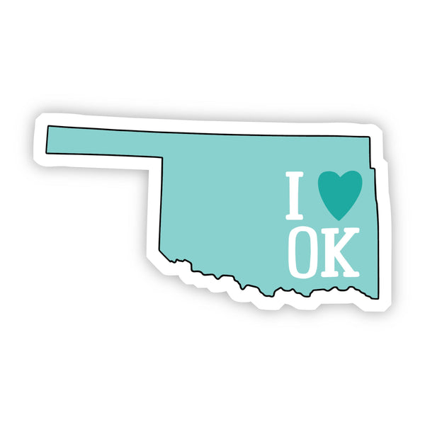I Love Oklahoma Teal Sticker