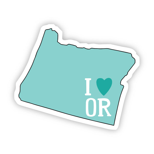 I Love Oregon Teal Sticker