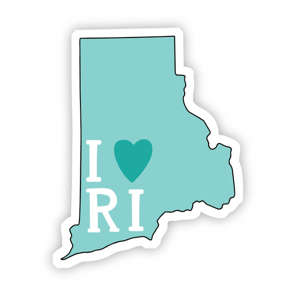 I Love Rhode Island Teal Sticker