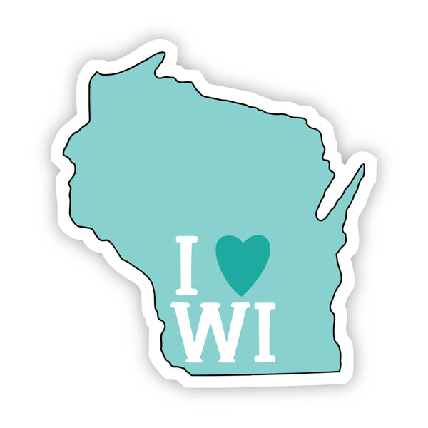 I Love Wisconsin Teal Sticker