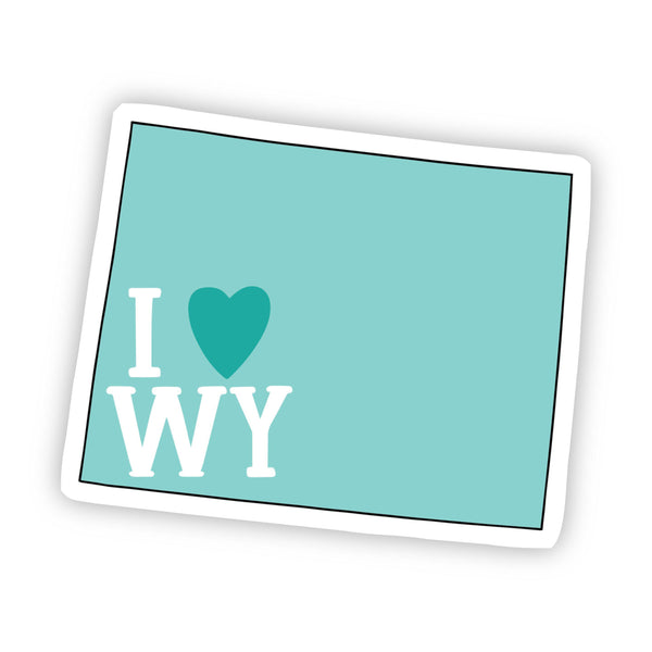 I Love Wyoming Teal Sticker