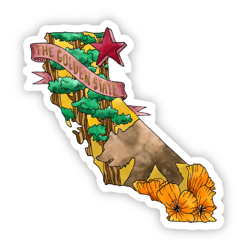 The Golden State Watercolor California Sticker